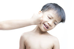 Eye injury after fight. Eye injury, boy with black eye isolated on white. after fight with his brother stock photo