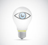Eye inside a light bulb. illustration design Stock Photo