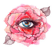 Eye inside rose Royalty Free Stock Images