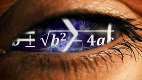 Eye iris with math equations mess inside Stock Photos