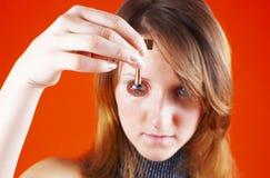 Eye on the key.  Stock Image
