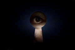 Eye in keyhole Stock Image