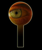 Eye in keyhole. VIP. One eye looks through a keyhole royalty free stock image