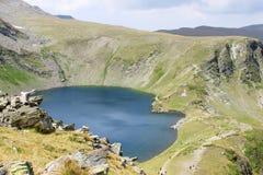 Eye Lake. Beautiful aerial view of the Eye Lake high in the Rila mountains, Bulgaria Royalty Free Stock Images