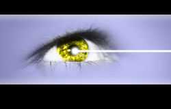Eye laser operation. Detailed close-up view of the human eye Stock Photography