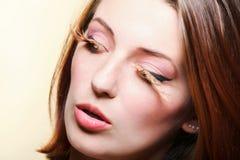 Eye-lashes för hår för brown för höstkvinnaflicka Royaltyfri Fotografi
