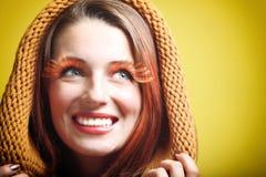 Eye-lashes freschi dei capelli di colore marrone della ragazza della donna di autunno Fotografie Stock Libere da Diritti