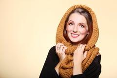 Eye-lashes freschi dei capelli di fascino della ragazza della donna di autunno Fotografia Stock