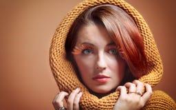 Eye-lashes freschi di fascino della ragazza della donna di autunno Immagine Stock Libera da Diritti