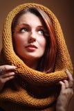 Eye-lashes freschi di fascino della ragazza della donna di autunno Fotografia Stock