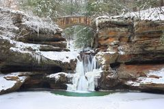 Old Man`s Cave Upper Falls in Winter Royalty Free Stock Images