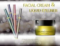 Eye-liner crème facial fascinant de pot et de liquide sur le fond de scintillement d'effets Image libre de droits