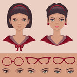 Eye,lips and hair, face, head character Stock Images
