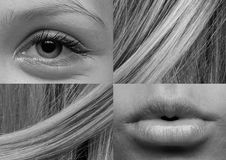 Eye, Lips, Kiss, Hair, Detail Stock Image