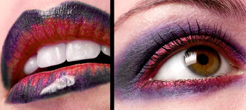 Eye and lips with make-up Royalty Free Stock Images