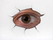 Eye lo sguardo attraverso il foro Fotografia Stock Libera da Diritti