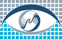 Eye logo. Illustration art of a hand with eye logo with isolated background Royalty Free Stock Photo