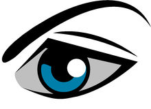 EYE LOGO. Graphics to use for the logo or on the packaging Stock Photography