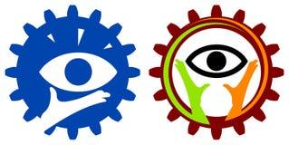Eye logo set. Isolated line art eye logo design Stock Images