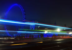 Eye of london. Spinning London Eye close detail at night with blue lights Royalty Free Stock Photos