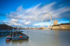 The Eye of London. Long Exposure on Clouds movement Royalty Free Stock Image