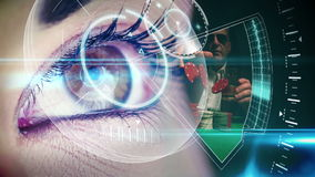 Eye looking at futuristic interface showing gambling clips stock footage