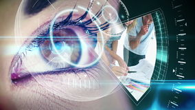 Eye looking at futuristic interface showing interior design clips stock footage