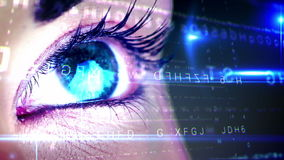 Eye looking at futuristic interface showing letters stock footage