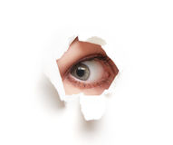 Eye looking through  hole in  white empty paper poster Royalty Free Stock Photography