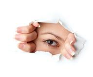 Free Eye Looking Through Hole Royalty Free Stock Image - 11696046
