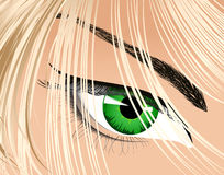 Eye looking from under hair Stock Image
