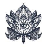 Eye on Lotus Tattoo royalty free illustration