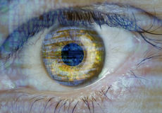 Eye macro with software code. Overlay Stock Photography