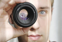 Eye magnification. Through 50 mm lens Royalty Free Stock Photo
