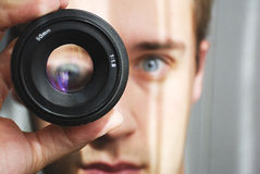 Eye magnification. Through 50 mm lens Royalty Free Stock Image