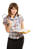 Eye and magnifying glass and book Stock Photo