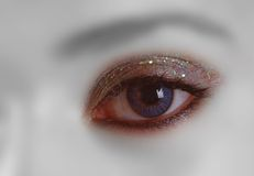 Eye make up. Detail of one brilliants eye make up Royalty Free Stock Images