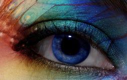 Eye make-up with bright saturetad colors - macro shot Royalty Free Stock Images