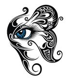 Eye make up with butterfly. Tattoo eye. Decorative blue Eye make up with butterfly on white background vector illustration