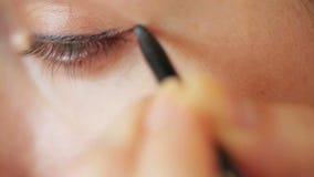 Eye make-up closeup stock video