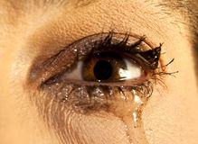Eye with make up crying Royalty Free Stock Image