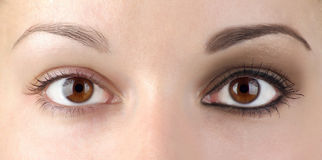 Eye make-up or no? Royalty Free Stock Image