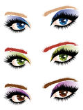 Eye make up. Set of female eyes of different colors with makeup Royalty Free Stock Image