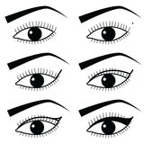 Eye make up technique  with use of  Eyeliner in Asian style  tutorial method 2,  simple black and white eyes icons Stock Photo
