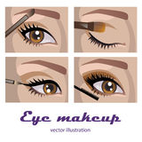 Eye makeup. Eye smokey eyes makeup. four pictures Stock Photography
