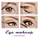 Eye makeup. Eye smokey eyes makeup. four pictures vector illustration