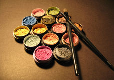 Eye-makeup. Make-up, brushes, cosmetics, make-up and brushes stock photo