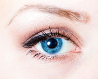 Eye makeup. Closeup shot of a blue female eye, with bright fashion makeup Stock Photo