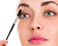 Eye makeup. Applying mascara on the lashes. Portrait of a woman close up Royalty Free Stock Photo