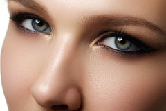 Eye makeup. Beautiful eyes make-up. Holiday makeup detail. Long Royalty Free Stock Images